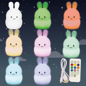 Veilleuse multicolore rechargeable Lapin