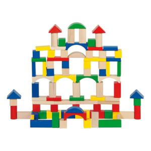 Baril jeu de construction en bois 100 pièces