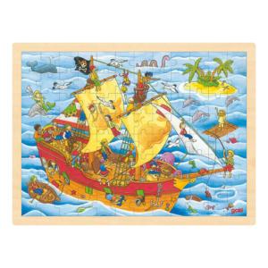 Grand puzzle en bois 96 pièces Bateau de pirates