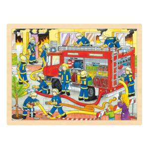 Grand puzzle en bois 48 pièces Pompiers