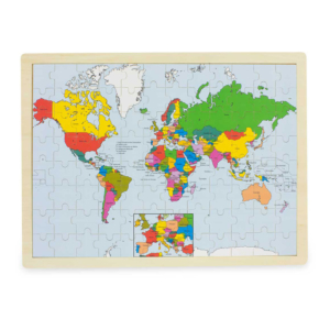 Puzzle en bois 96 pièces Carte du Monde