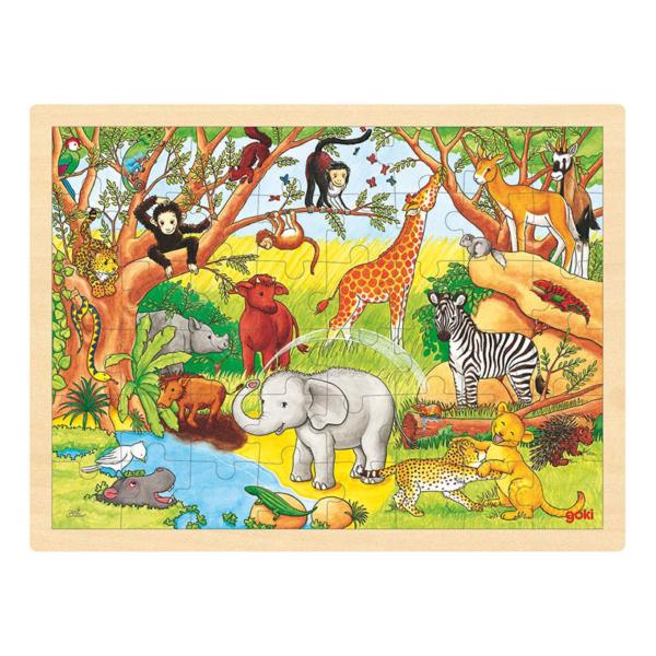 Grand puzzle en bois 48 pièces Animaux sauvages