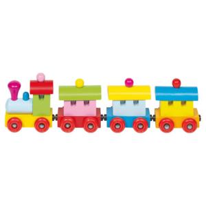 Train magnétique en bois multicolore