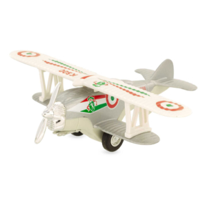 Avion biplan en métal gris