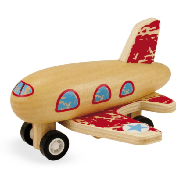 Avion à rétrofriction en bois rouge