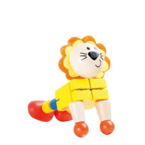 Lion articulé en bois