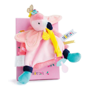 Doudou attache-tétine Flamant rose