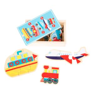 Boîte puzzle en bois Transports