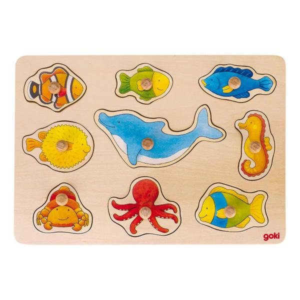 Puzzle à boutons en bois Animaux marins