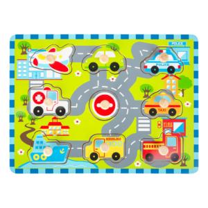 Puzzle à boutons en bois Route