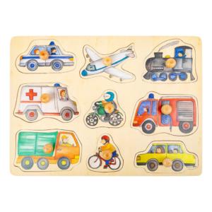 Puzzle à boutons en bois Transports